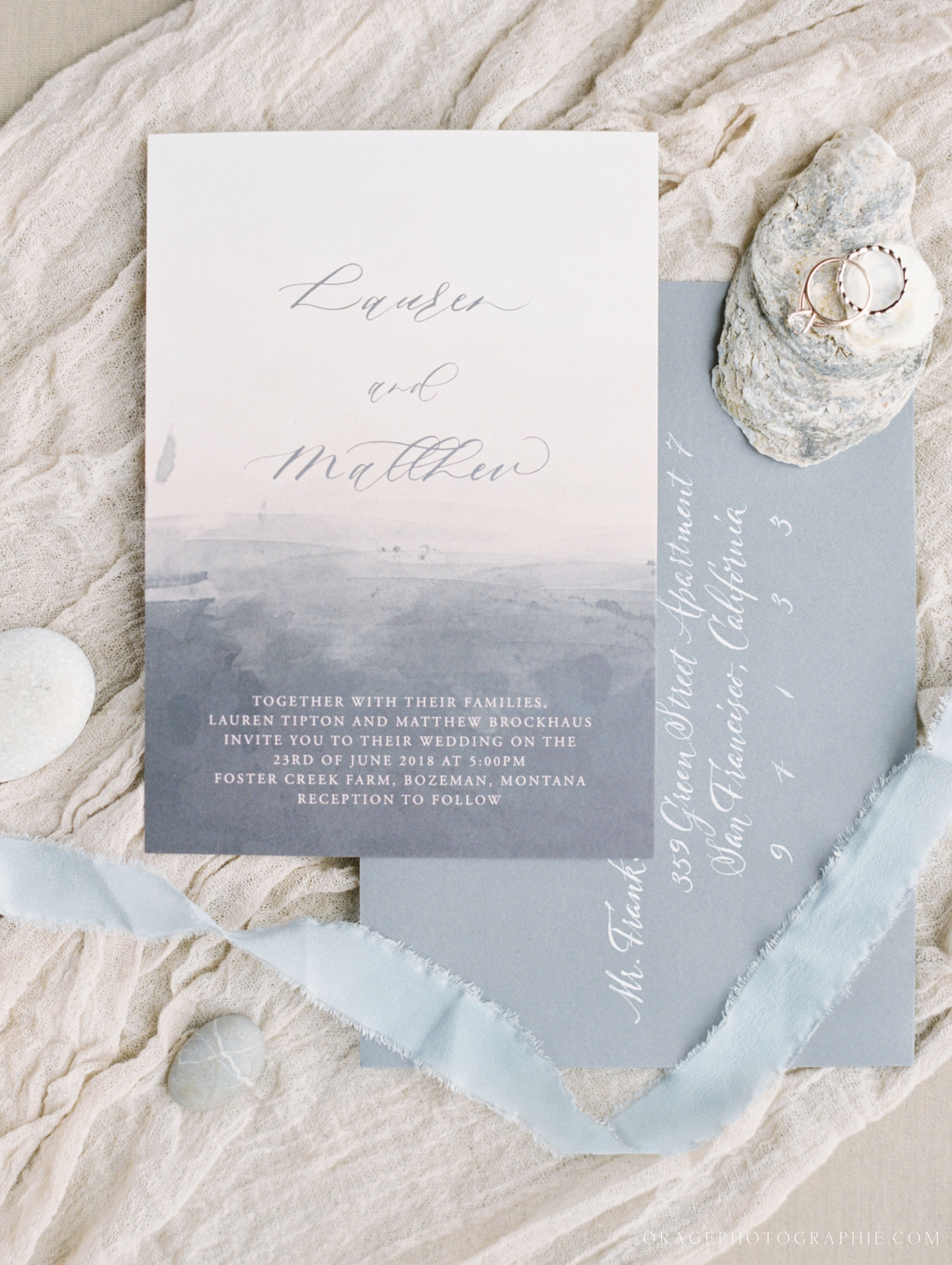 Watercolor illustration wedding invitation