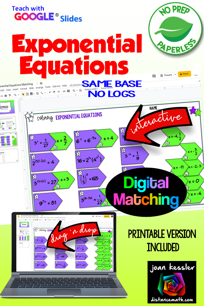 Exponential Equations Matching With Google Slides™ Distance Learning  Equations, Algebra Activities, Exponential