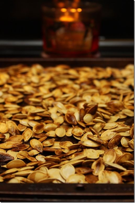 Pumpkin seeds. Bake them in the oven, just add a little oil and salt… So, so, so delish!