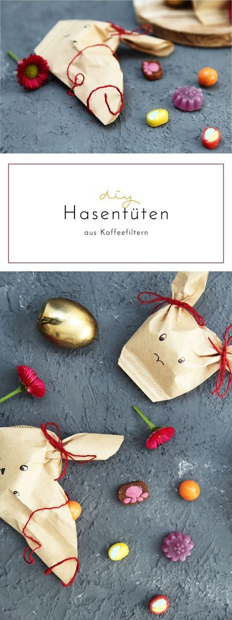 ostergeschenke verpacken diy hasent ten aus kaffeefiltern basteln easter easter crafts und. Black Bedroom Furniture Sets. Home Design Ideas