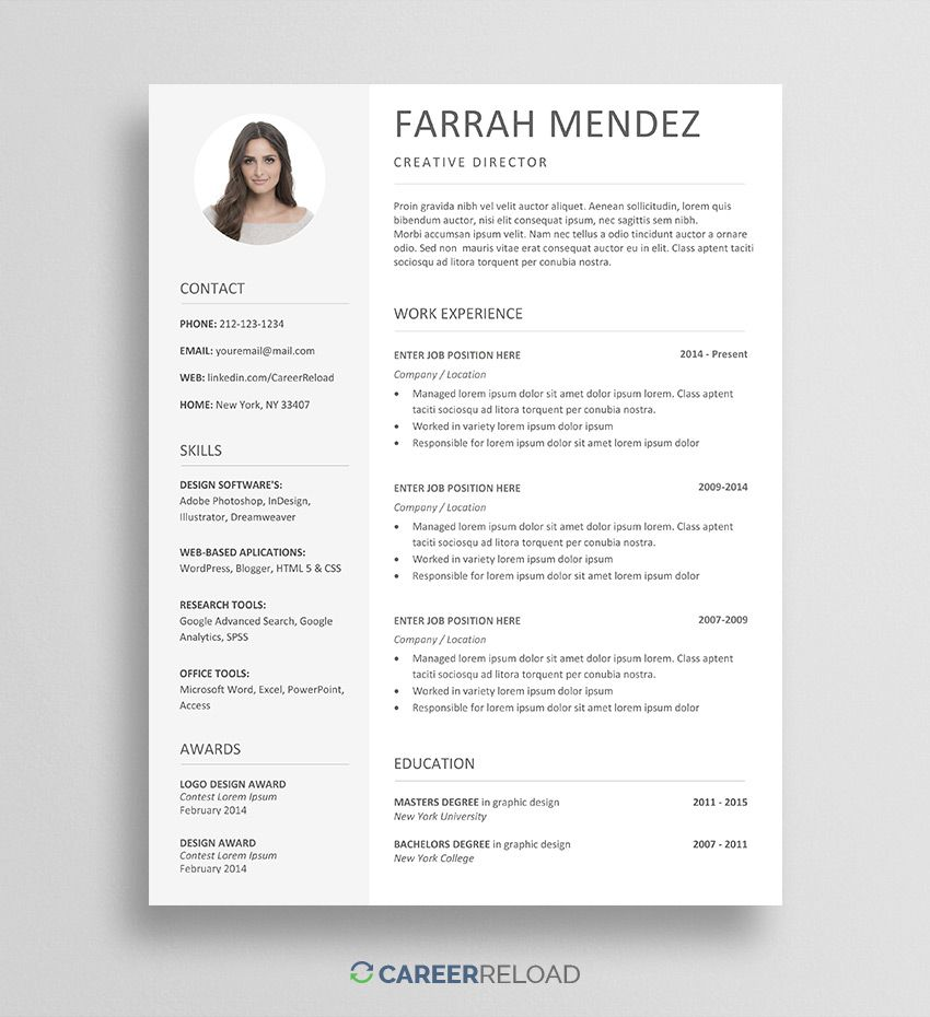 Free Resume Template For Word Free Resume Template Download Resume Template Free Resume Template Word