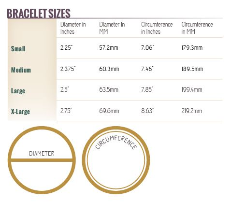 Bracelet sizing please refer to our bracelet sizing chart for