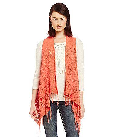 Reba New Horizons Crochet Fringe Vest #Dillards