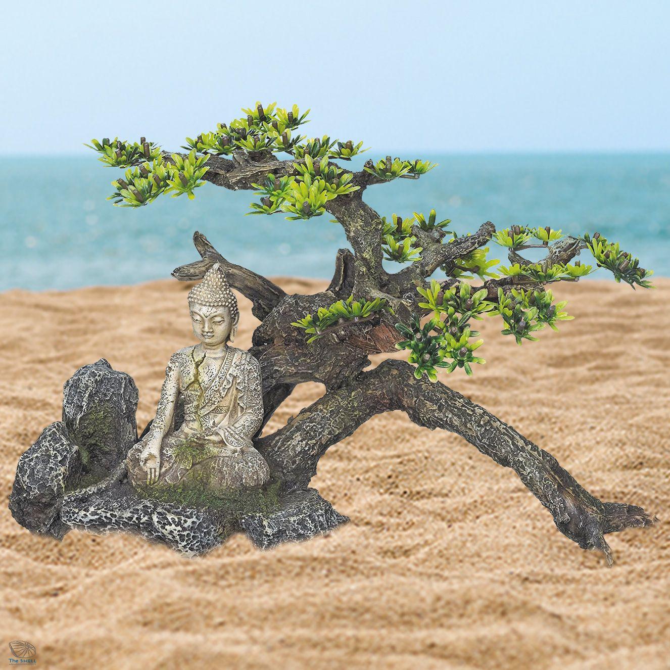 Dragon fish tank ornament - Buddha On A Tree Rock Root Plant Large Fish Tank Oriental Aquarium Ornaments