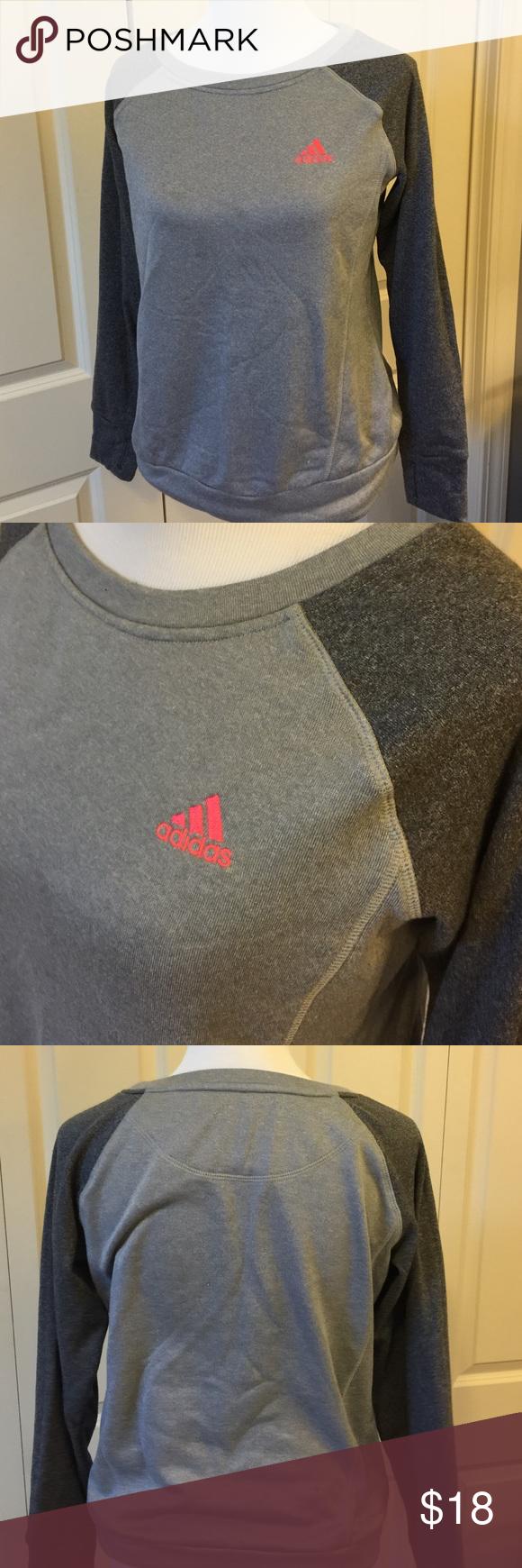 Two Tone Grey Adidas Sweatshirt Crew neck. Climawarm 100% polyester adidas Tops Sweatshirts & Hoodies
