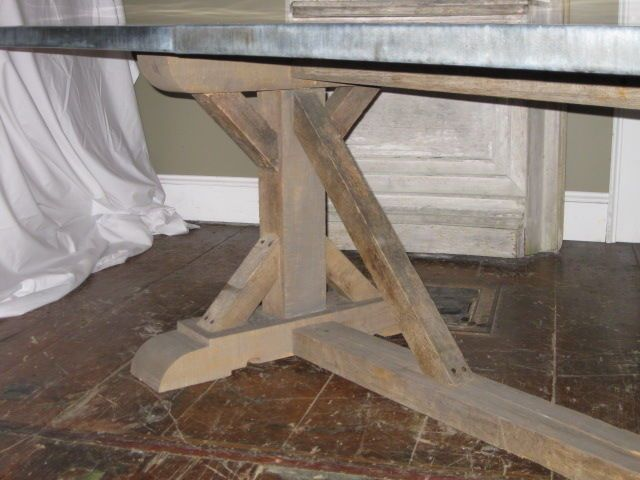 Belgian Zinc Top Trestle Dining Table