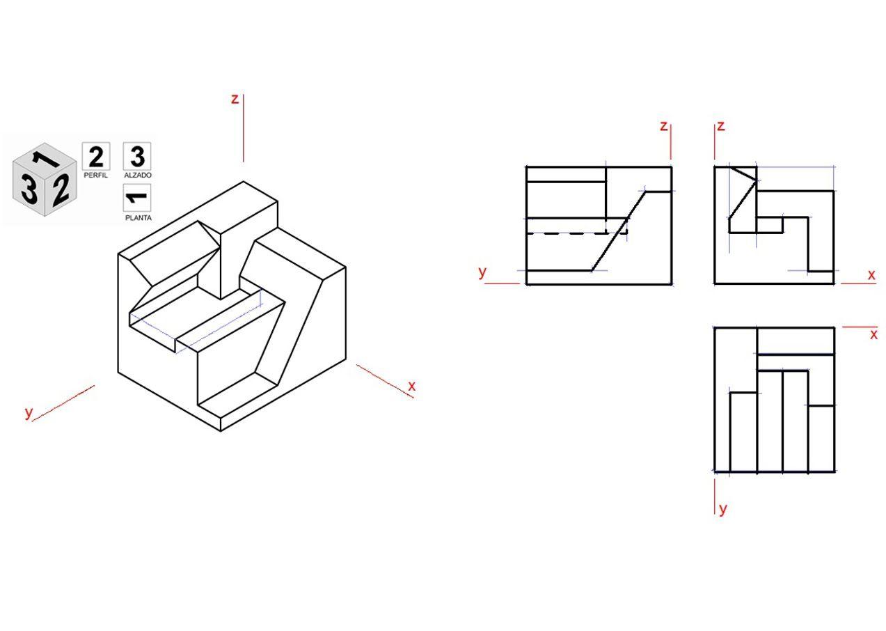Vistas De Una Pieza En Isometrico Animacion 3d Tecnicas De Dibujo Clases De Dibujo Proyecciones Ortogonales