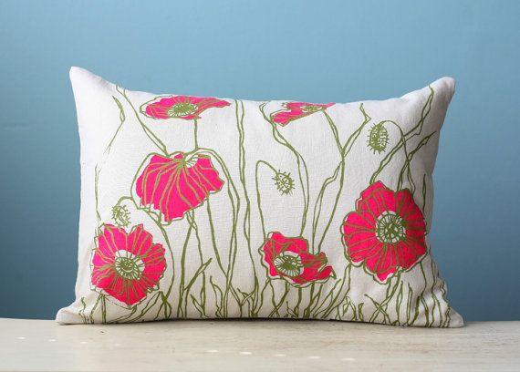 Linen Pillow Cover Decorative Cushion Throw Poppy Flower Blossom 12x16 Hot Pink Fluorescent Magenta Olive Green Lumbar Screen Print via Etsy