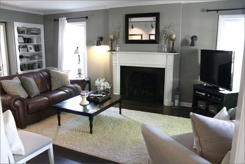 15 Cozy Living Rooms With Fireplaces Page 2 Of 3 Grey Walls Living Room Brown Couch Living Room Brown Living Room