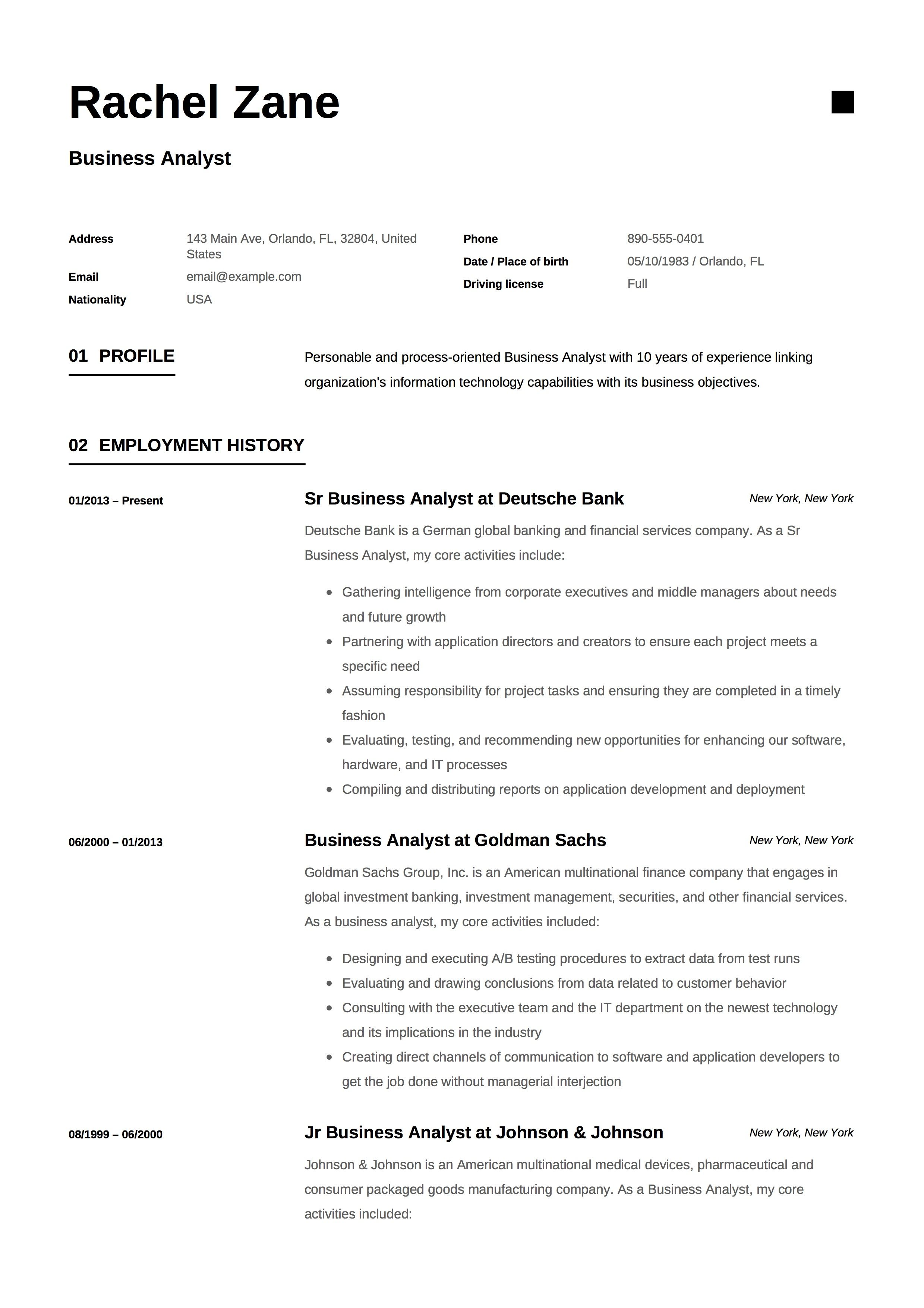 79 Business Analyst Manager Resume