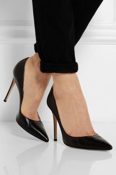 Leather pumps, Black high heel pumps