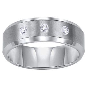 Triton Men's 8.0mm Diamond Accent Comfort Fit Tungsten Carbide Wedding Band - View All Rings - Zales