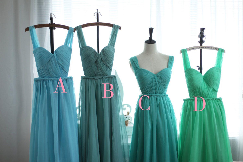 Blush pink peach sage green blue chiffon wedding dress bridesmaid