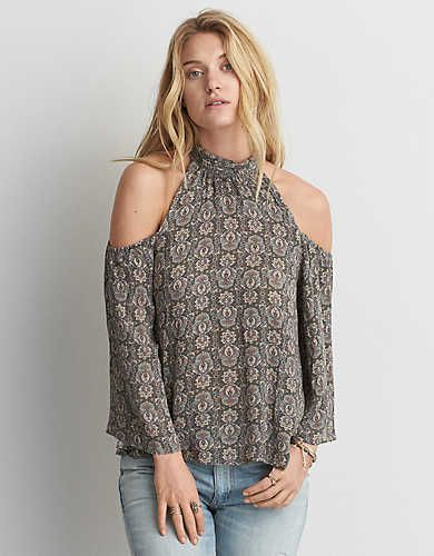 704d48fe8720 AEO Cold Shoulder Mock Neck Shirt, Burgundy | American Eagle Outfitters