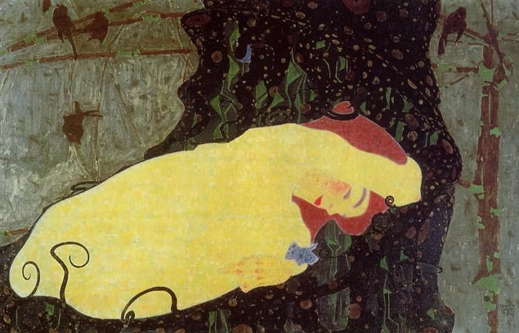 Danae, 1909 by Egon Schiele. Art Nouveau (Modern). mythological painting. Private Collection