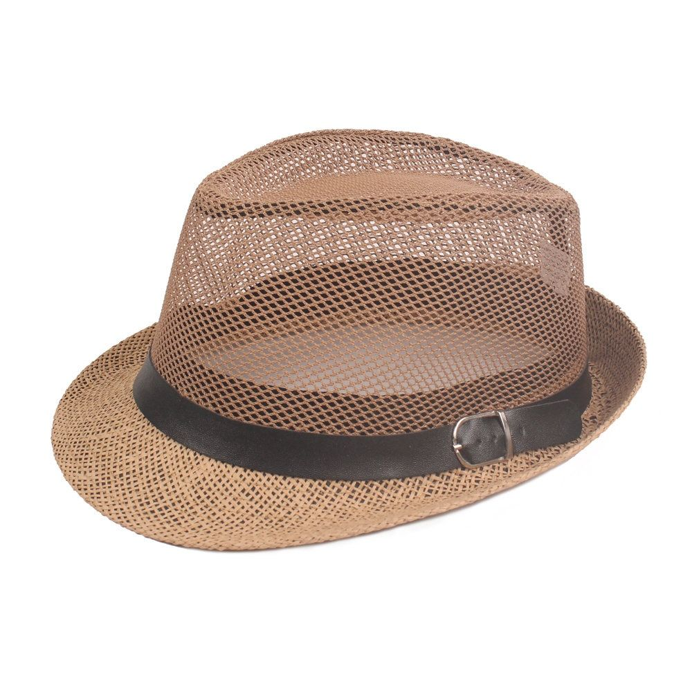 Mens Panama Wide Brim Jazz Cap Bucket Hat Beach Cap Travel Sunshade  Breathable Sun Cap - NewChic 433cb401c4d6