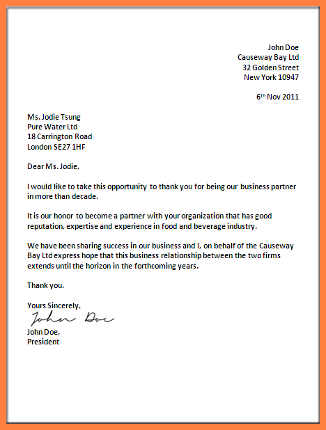 Business Letter Parts And Spacing Format Official Block Not