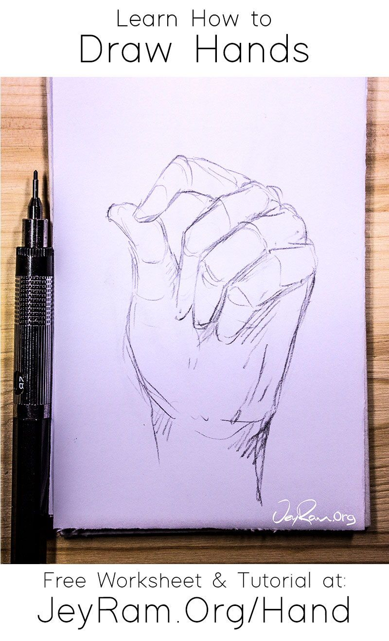 How To Draw Hands Free Worksheet Step By Step Tutorial In 2020 How To Draw Hands Drawing Tutorial Easy Hand Drawing Reference