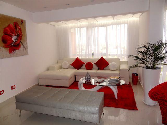 Blanco y rojo decoracion pinterest living rooms red for Decoracion de living room