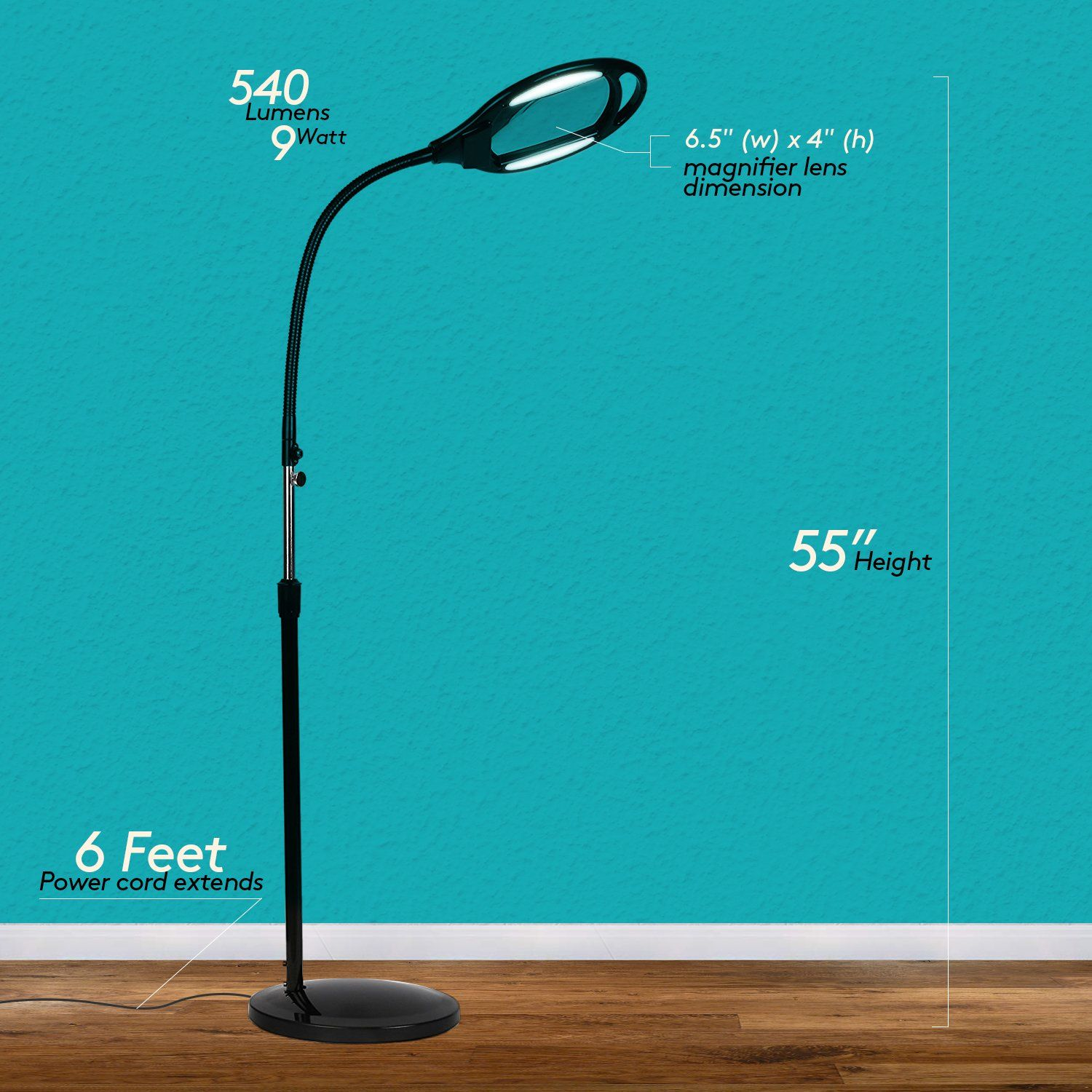 Brightech Lightview Pro Led Magnifying Glass Floor Lamp Magnifier With Bright Light For Reading Tasks And Crafts He Glass Floor Lamp Light Fixtures Magnifier