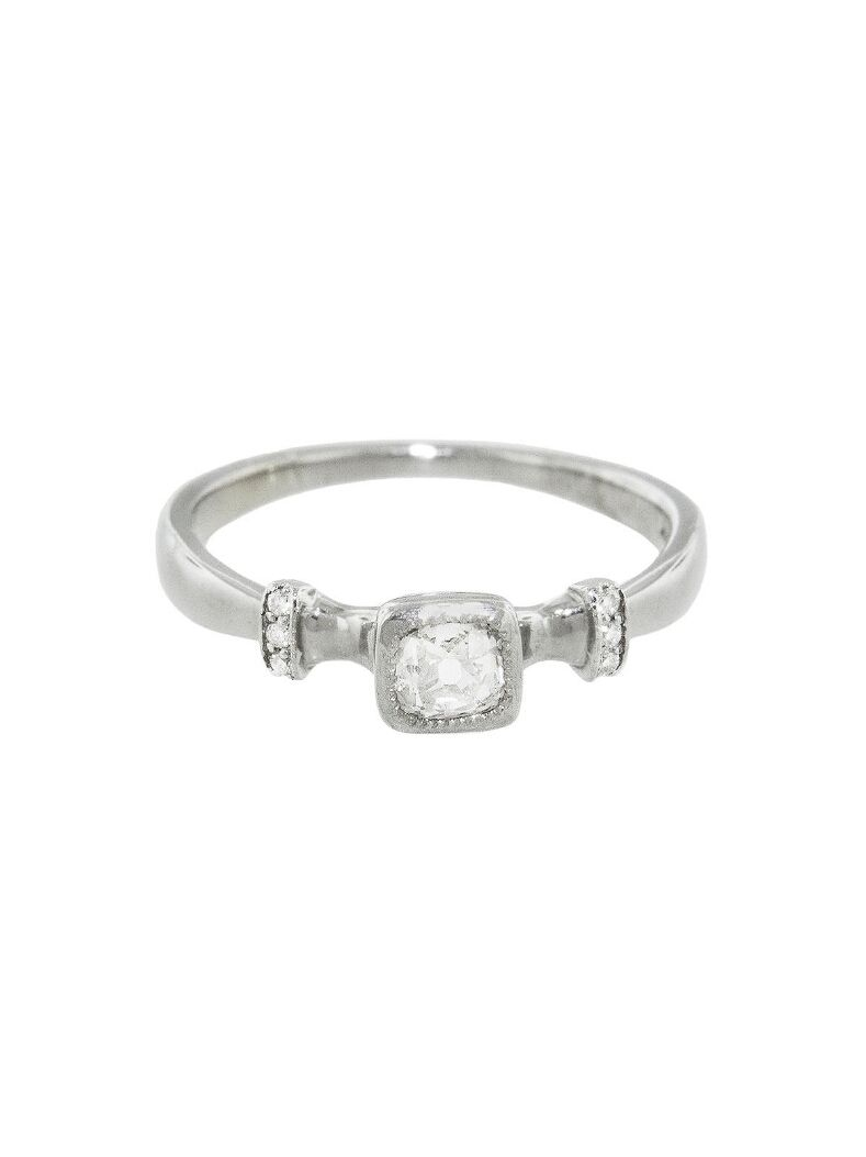 Lori McLean Engagement Ring - Old Mine Cut Diamond Ring    Handcrafted in 14-karat white gold.  Detailed in diamonds  Old Mine Cut Diamond totals 0.33 carats H/I