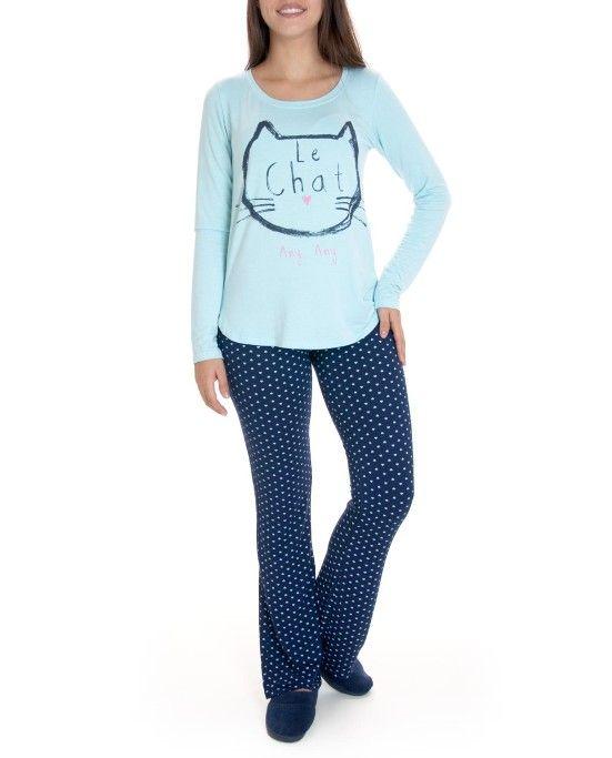 919d339ed Pijama-Feminino-Any-Any-Longo-Viscolycra-Gato