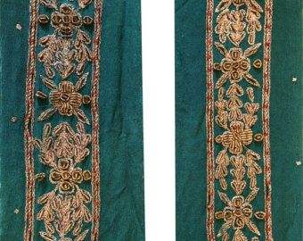 Trim & Edging Antiques Vintage Sari Border Antique Hand Embroidered Trim Sewing Blue Patch Lace