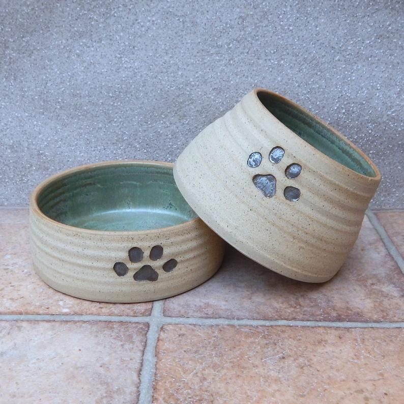 Pair Of Spaniel Dog Bowls Long Eared Ears Dishes Water Food Etsy