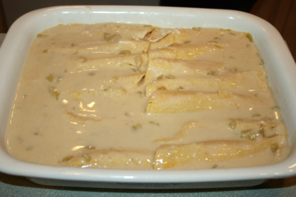 There was a picture of Chicken Enchiladas with a Sour Cream Sauce on Pinterest that was getting rave reviews. With a few adjustments, I was able to come up with a gluten free version.