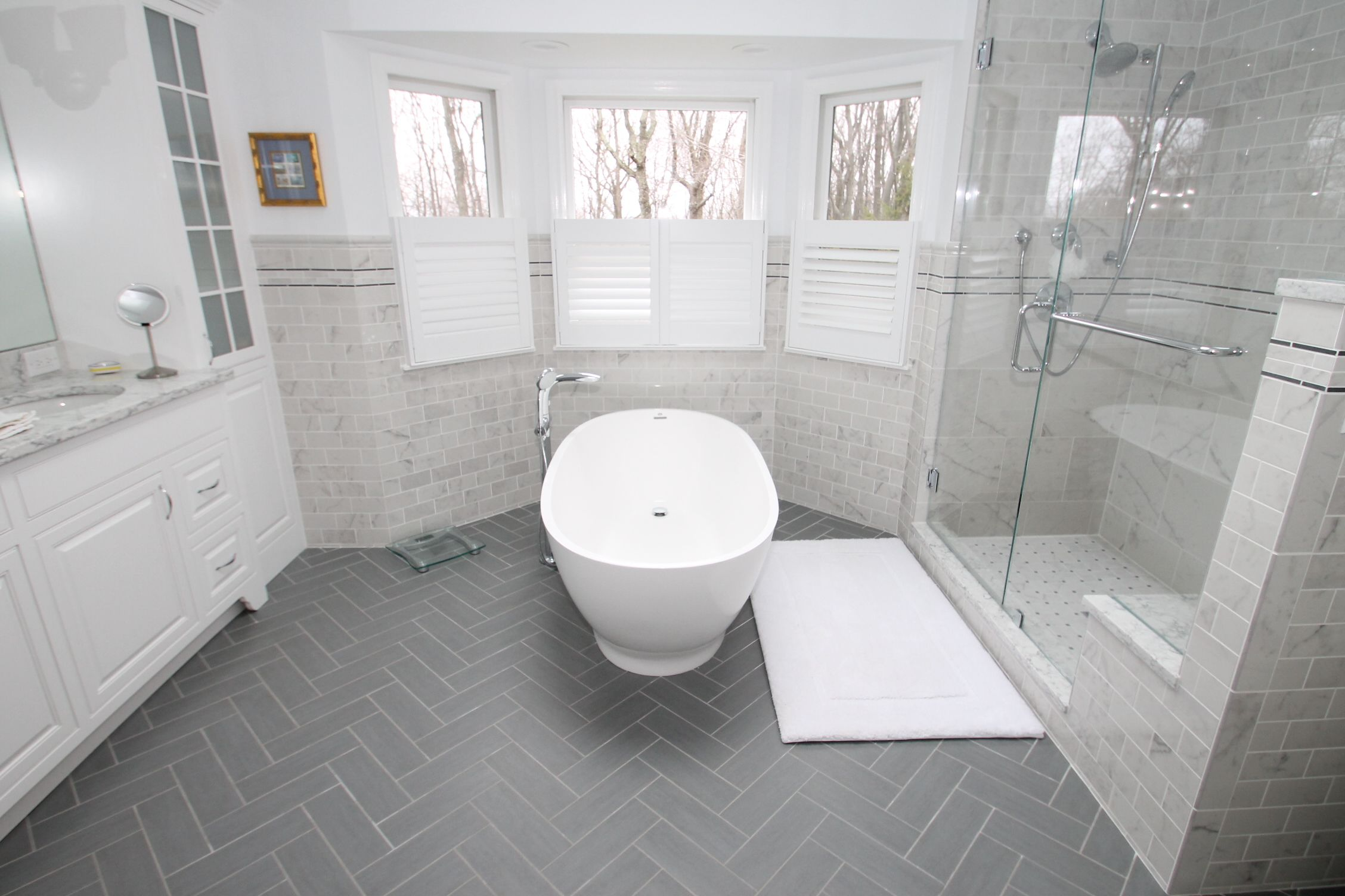 Design And Construction Work In Randolph By Nj Kitchens And Baths Modern Bathroom Design Lighting Small Apartment Bathroom Bathrooms Remodel