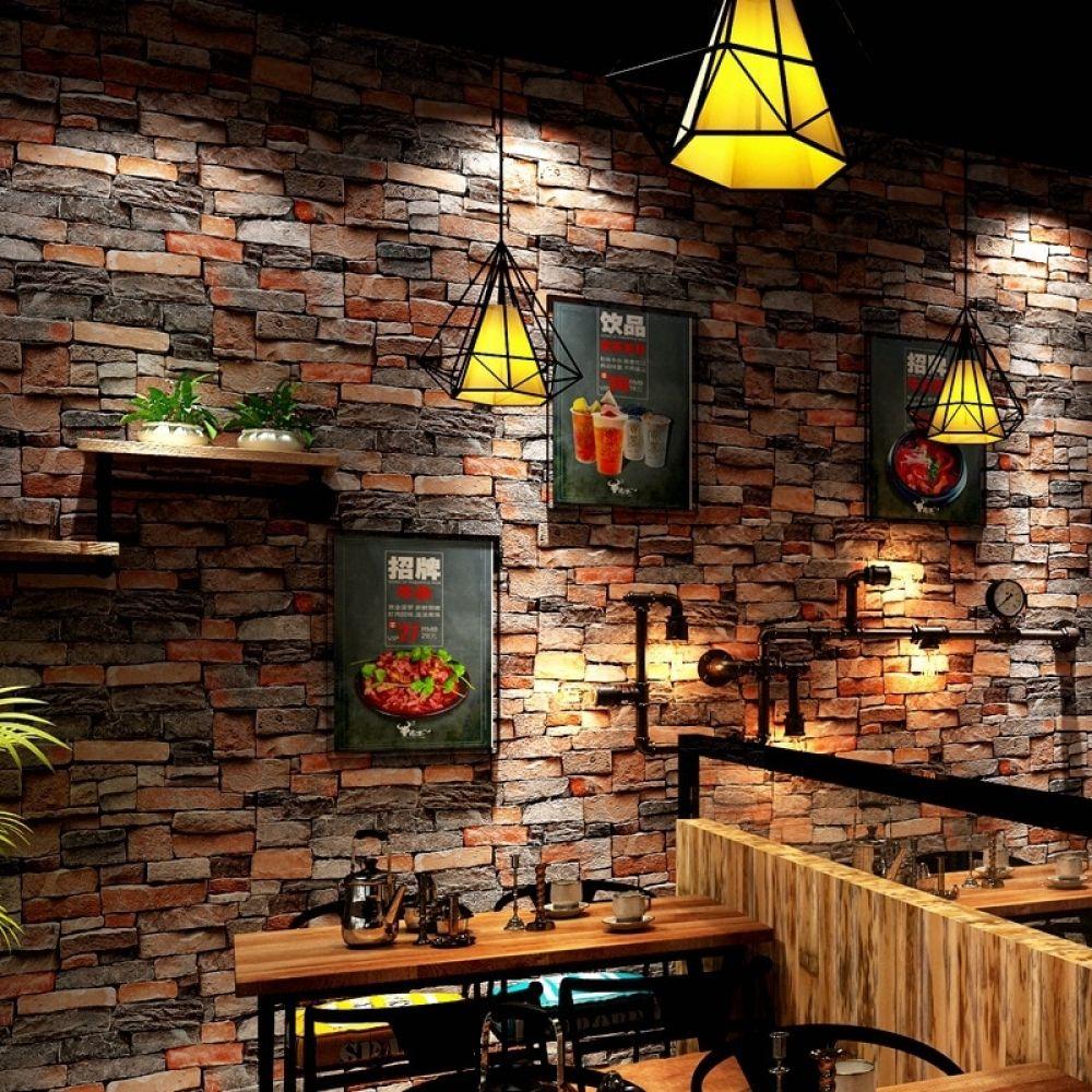 Retro Vintage Simulation Brick Wallpaper Coffee Shop Bar