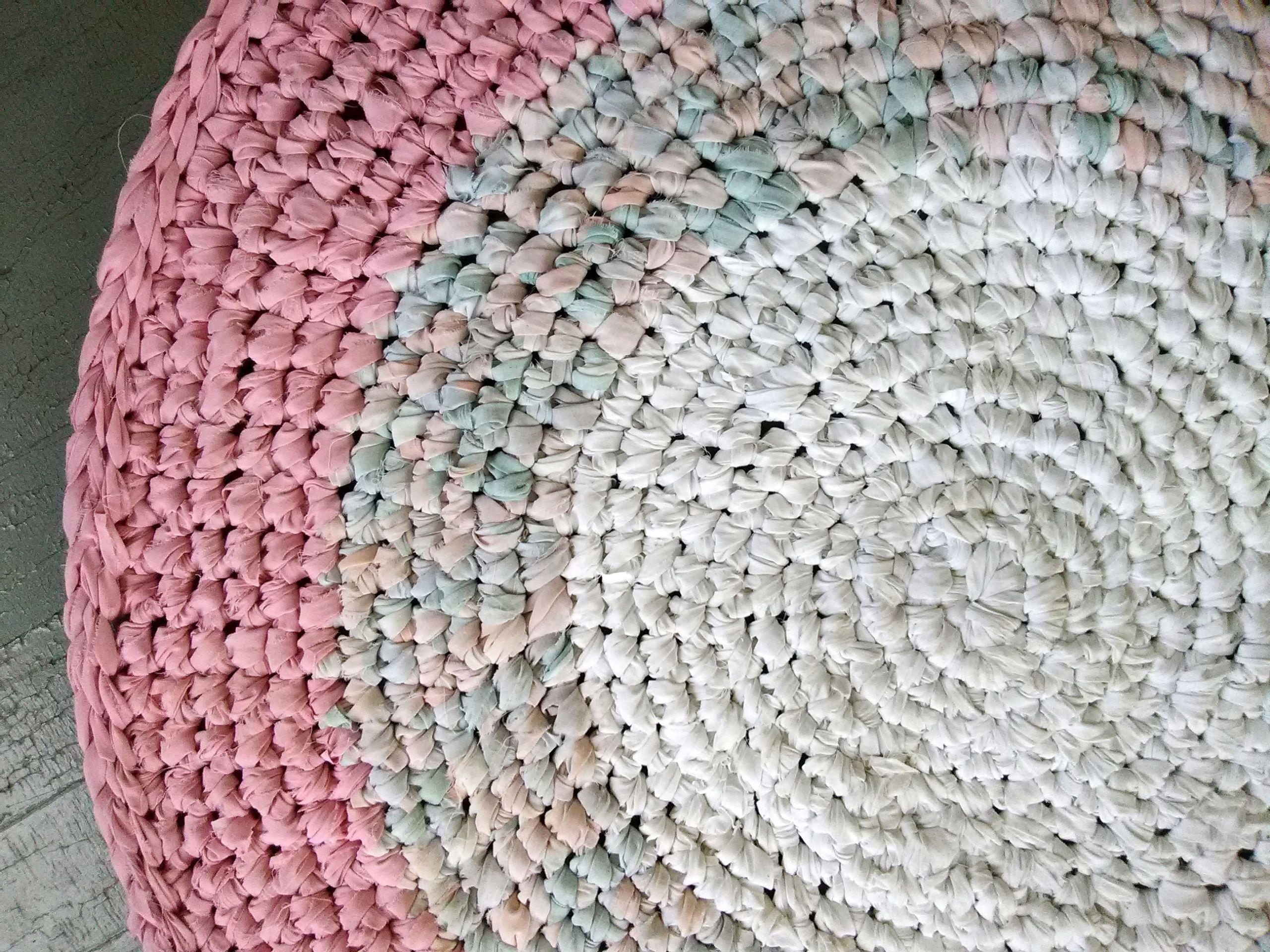 Handmade Crochet Rag Rug 40 Recycled Pink White Pastel Cotton