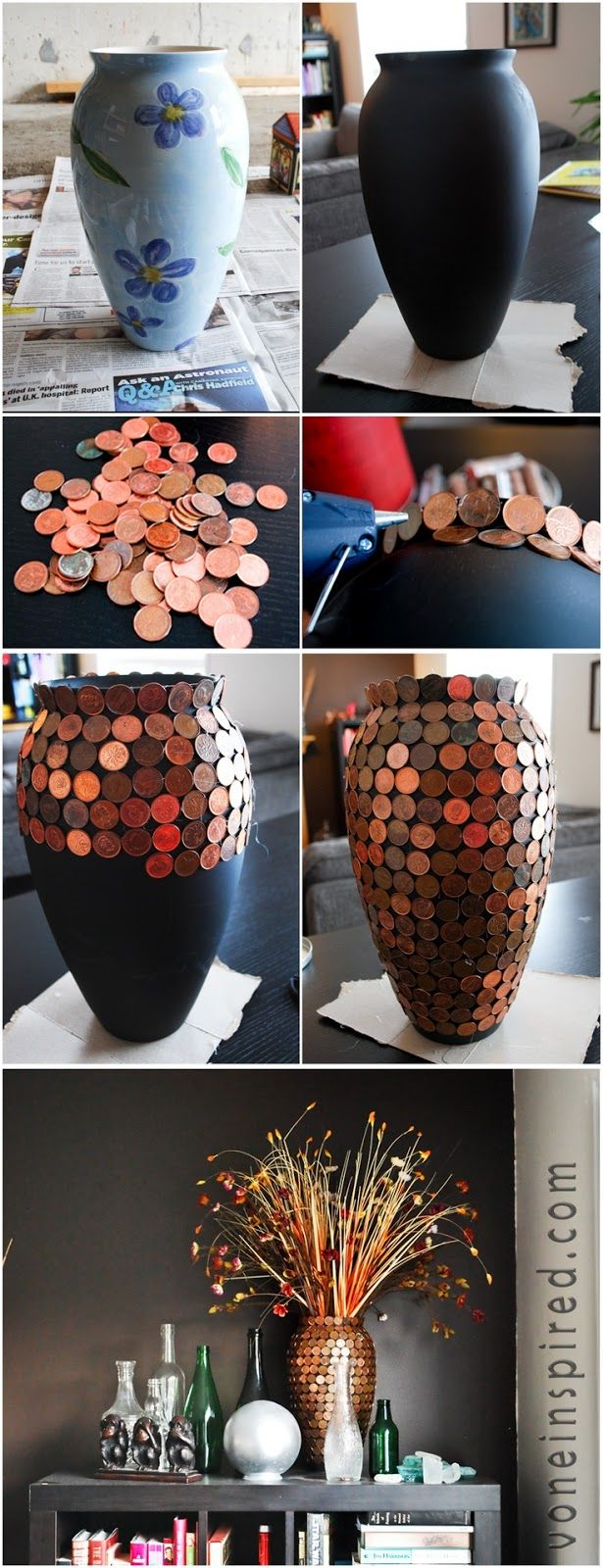 Glue pennies to a vase ... love this!