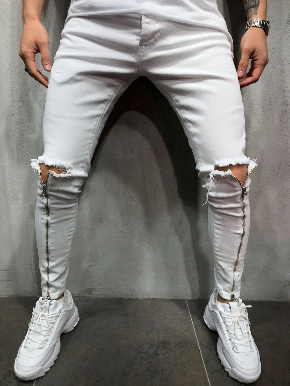 c6692837 Men Skinny Fit Ripped Knee Zipper Shins Short Ankle Jeans - White 3833