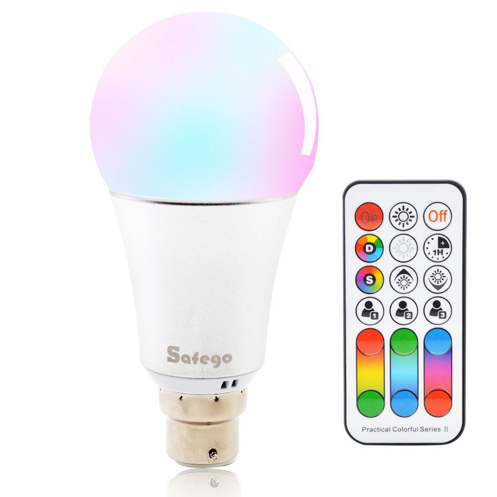 Safego B22 10w Rgbw Dimmable Led Bulb Lamp 12 Colour Changing For Party Disco Hotel Home With Remote Control 85265v Have A Dimmable Led Led Bulb Light Bulb