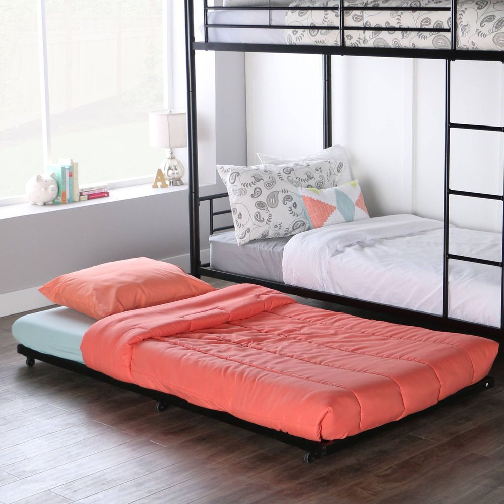 Metal bed frames with storage - Details About Trundle Bed Frame Twin Roll Out Day Bed Hideaway Metal Kid Sleepover Storage New
