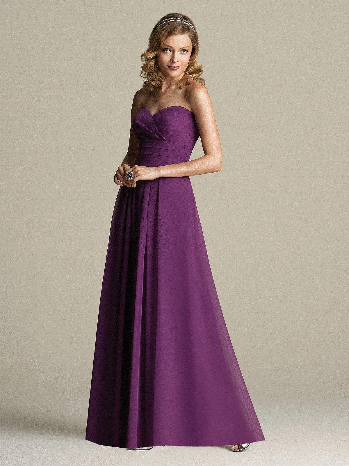 Chiffon Grape Sleeveless Floor-length Sweetheart Bridesmaid Dress ...