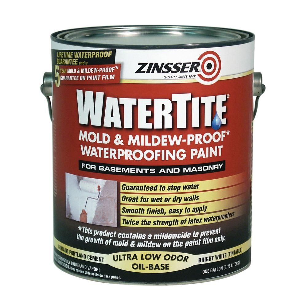 Zinsser 1 Gal Watertite Mold And Mildew Proof White Oil Based Waterproofing Paint Case Of 2 Waterproof Paint Mold And Mildew Waterproofing Basement