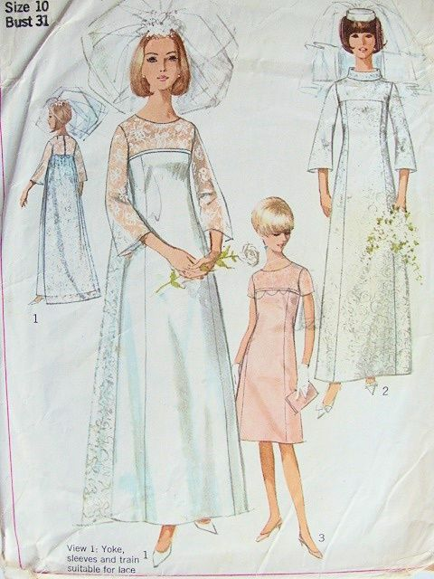 70f0acf9e 1960s LOVELY WEDDING GOWN BRIDAL DRESS PATTERN DETACHABLE TRAIN, BRIDESMAID  or EVENING DRESS SIMPLICITY 6824