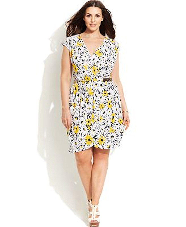 Michael Michael Kors Women Printed Faux Wrap Dress Plus Size 2x Taxi Yellow Review More Details Here Plus Siz Wrap Dress Faux Wrap Dress Plus Size Dresses [ 1500 x 1230 Pixel ]
