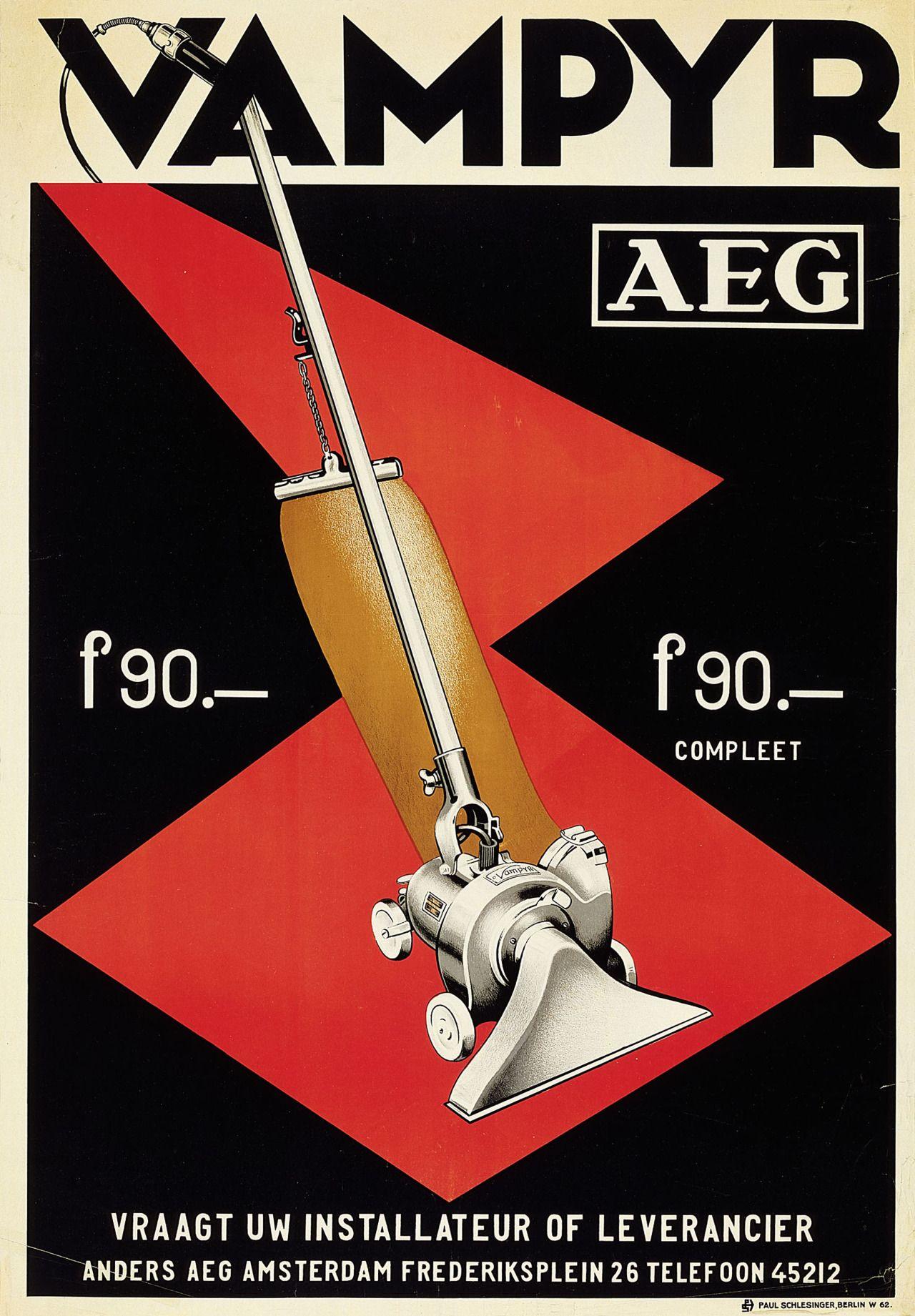 Poster design 1920s - Design Is Fine History Is Mine Aeg Poster For Vampyr Vacuum Cleaner