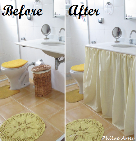 Curtain Skirt Sink Bathroom Sewing Idea With Velcro And Fabric