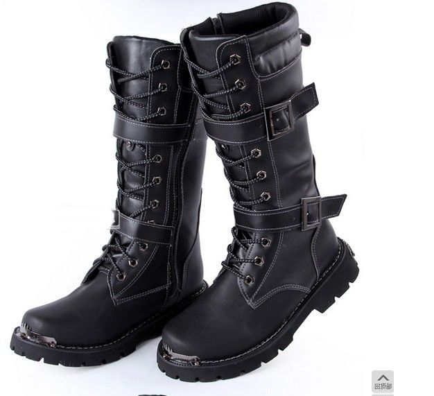 623f4dcf003 Autumn and winter style Hot Korean fashion men s pu leather high top boots  motorcycle boots military boots Sabatons-in Boots from Shoes on .