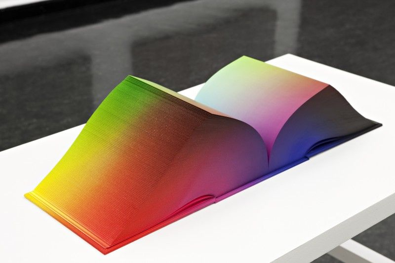 3d colour shaped as a book - by artist Tauba Auerbach at Bergen Kunsthall