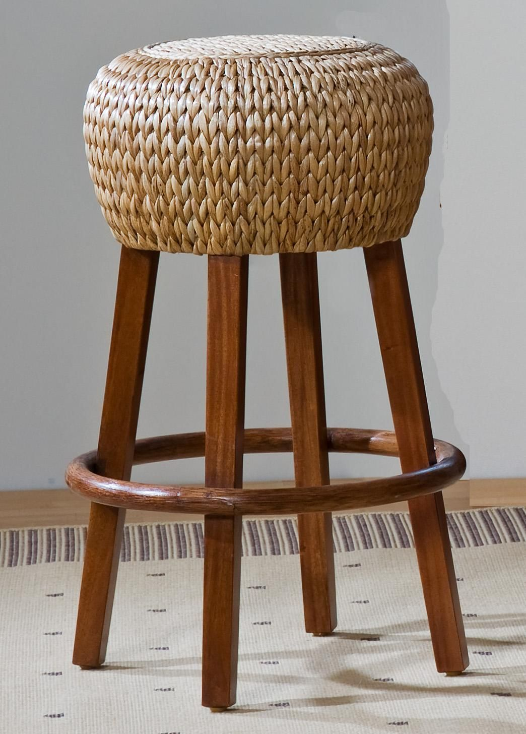 Delightful Round Rattan Bar Stool Design Idea With Four Wood Legs And Base
