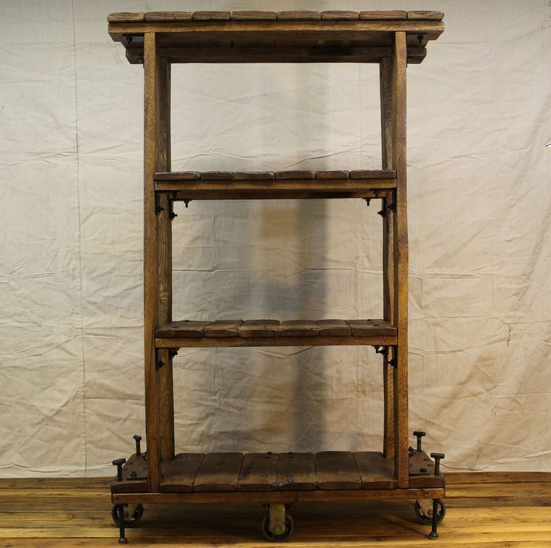 Vintage Industrial Style Shelf Bookcase On Casters With Reclaimed Wood