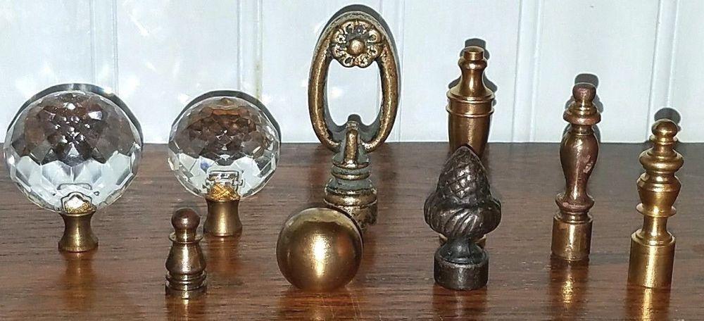 Vintage Crystal Prism Glass Brass Table Lamp Finials Lot Of 9 Lamp Finial Vintage Lamps Lamp