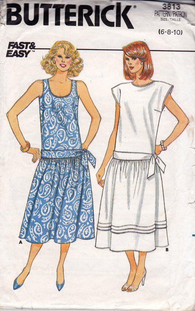 Butterick 3813 Womens Drop Waist Dress with side tie 80s Vintage ...