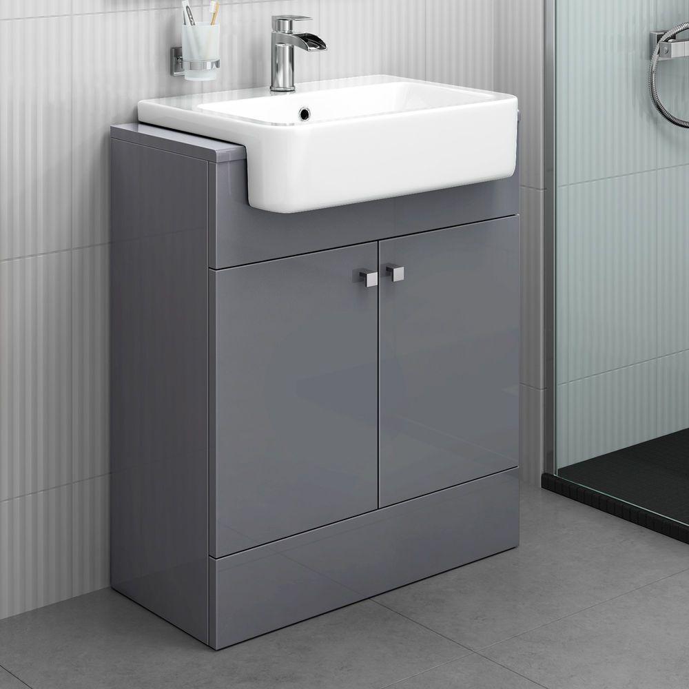 Modern Bathroom Furniture Storage Vanity Unit Sink Basin Grey 660