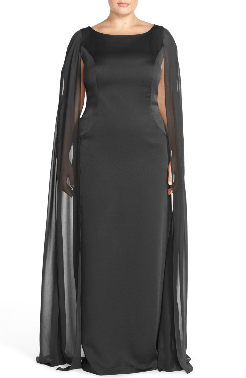 Free shipping and returns on Adrianna Papell Satin Column Gown with ...